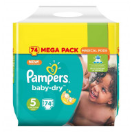 Pampers Baby-Dry 74 Couches Taille 5 (11-23 kg)