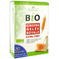 3 Chênes BIO Ginseng Gelée Royale Extra Fort 30 Ampoules
